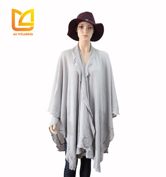 Promotional winter stole knit peruvian alpaca wool poncho