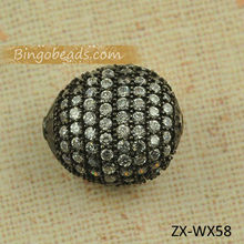 Wholesale Pave Beads The Best Selling Shamballa Bracelet Black Zircon Crystal Silver Pave Shamballa Beads