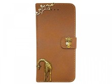Vintage Retro Style Brown Color Victorian Tree Owl Giraffe Phone Case for iphone 6 Leather Wallet Case Cover