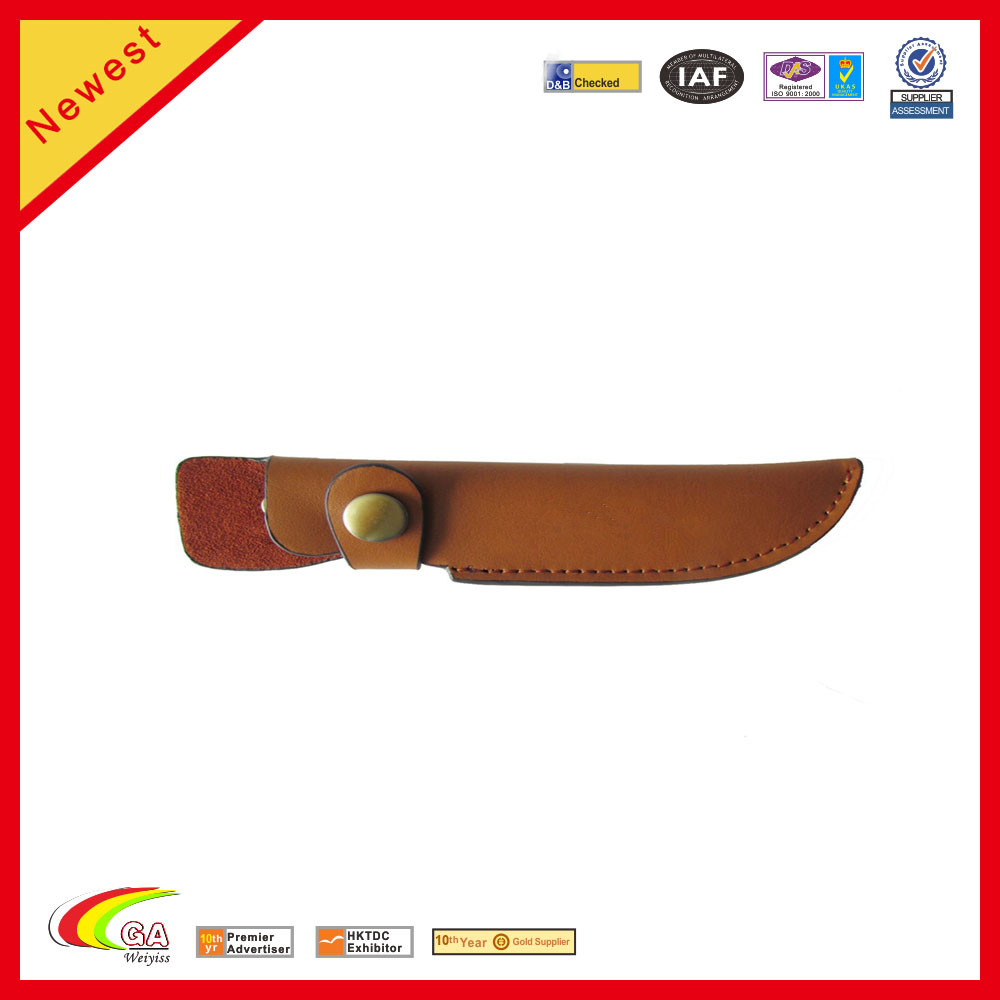 Brown Leather Fixed Blade Knife Sheath with Snap Closure