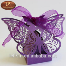 Laser Cut Butterfly Wedding Favor Boxes Purple Pearlescent /Wedding/Birthday/Baby Shower/Anniversary /baptism Parties candy box