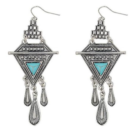 Women fashionable vintage indian earrings Costume triangle pendant earrings Turquoise vintage earrings