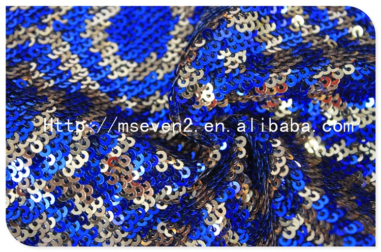 New Arrival Polyester Geometry Embroidered Blue Sequin Fabric Wholesale