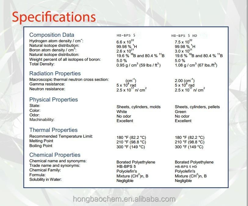 Neutron Shielding Borated Hdpe Polyethylene Sheet Used For ...