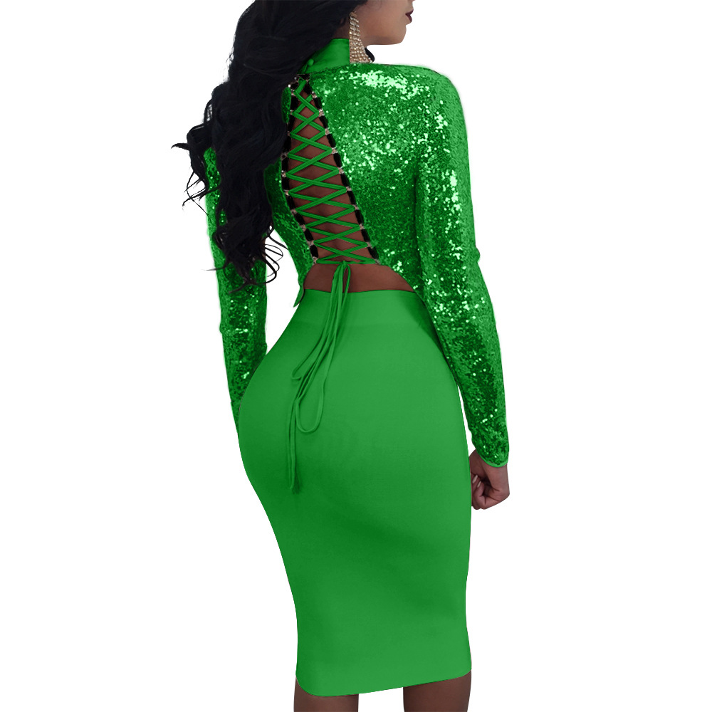 Green Woman Sexy Bandage Dress Sequin Dress Ladies Clubwear Dresses