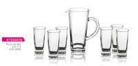7 pc Glass Squre Shaped Water Jug Pitcher Set Includes 1.5L Pitcher and 300ml cups tumbers