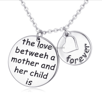 Personalized engrave lovers round heart and circle 925 sterling silver filled pendant necklace
