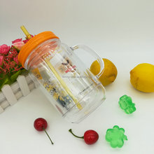 Double Wall Colorful Plastic Mason Jar With Lid and Straw