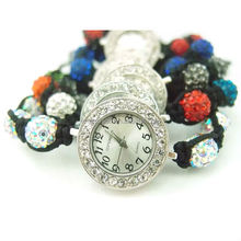 2014 New Fashion Handmade Woven Colorful Rhinestone Shamballa Watch
