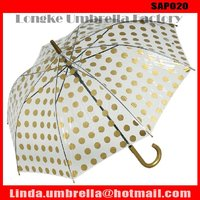 [SAP020] PVC umbrella with black frame and dot design