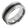 8mm Men's Tungsten Ring One Tone Matte Finish Brushed Center Wedding Band Carbon Fiber Inlay Polished Edge tungsten ring