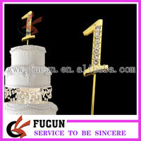 Gold number crystal diamond rhinestone cake topper wedding centerpieces/party decoration/cake decoration