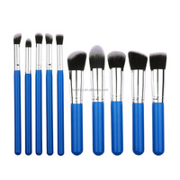 Pro Custom Private label 10 PCS Makeup brush set Cosmetic Eyebrow Foundation Powder Kabuki Brushes Blue Sivler Handle Brushes