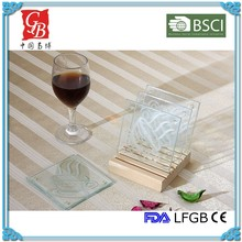 OEM square glass coaster glass saucer glass cup mat table coaster with silk print wooden holder thickness 4mm