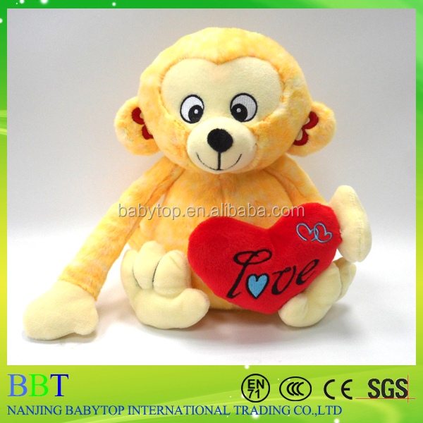 Direct Manufacturer Customized Valentine Plush Monkey With Heart