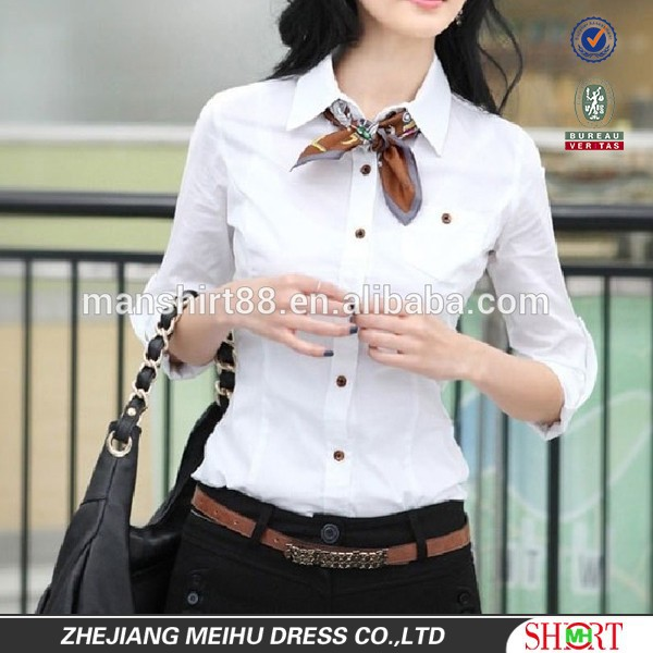 2016 Fashion Slim fit Sexy Office Lady White Blouse Work Clothing