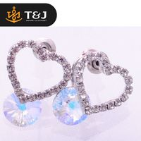 >>Top Selling Fashion Jewelry European Elegant Big Crystal Beautiful Bands Lovely Heart Trendy Stud Earrings Charming for Women/