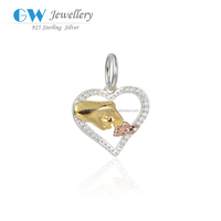 Silver Heart Charm 18K Gold Plate Hand Pendant Crystal Zircon Bead