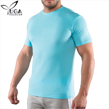 Crew Neck Light Blue 95% Modal 5% Spandex Men Custom Gym t Shirts