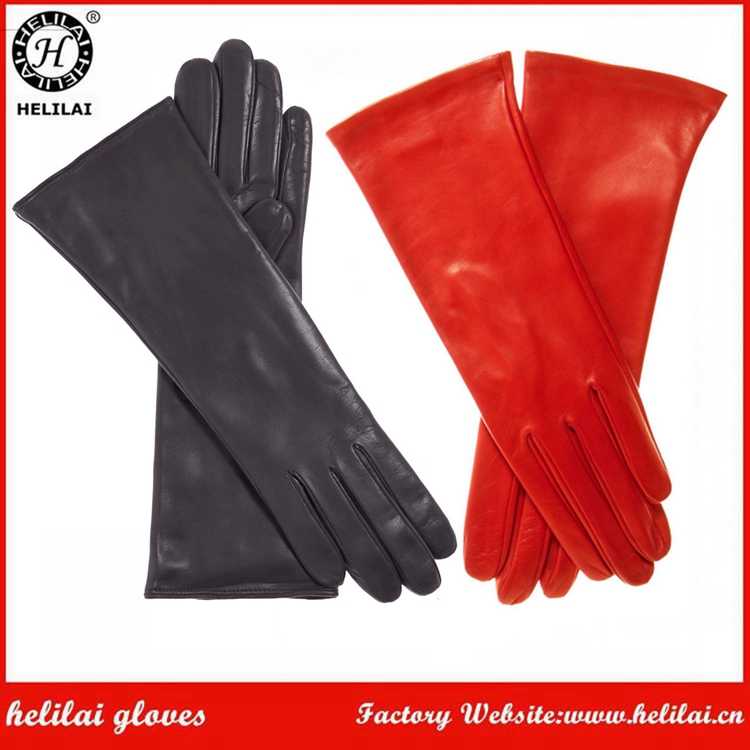 Elbow Length Silk Lined Ladies Long Opera Leather Gloves