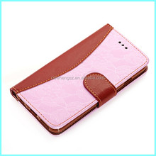 Hot selling contrast color flip wallet leather phone case for iphone 6 plus