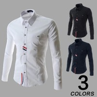 2015 new korean style casual shirts men slim fit dress shirts M- XXL
