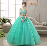 OEM Service 2017 Beaded Charming Light Sky Blue Long Puffy Quinceanera Dresses