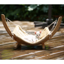 Easy assembled Wooden Cat Hammock bed with plush pet hanging mat toys