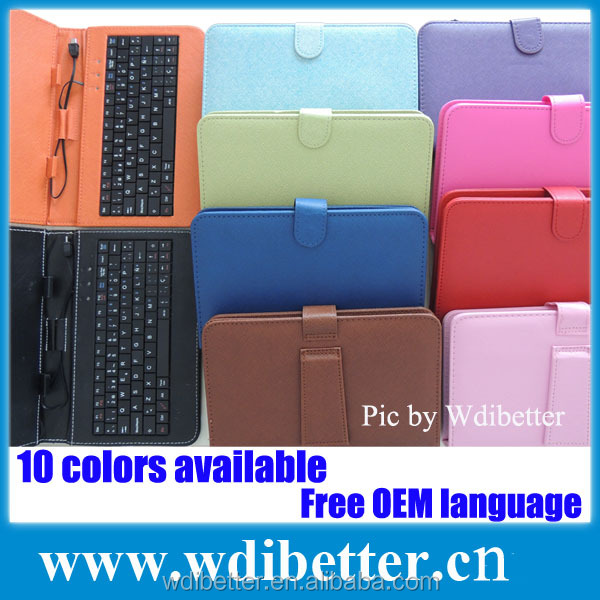 7-inch Tablet Mini Micro USB 2.0 Wired Keyboard And Checkered Leather Keyboard