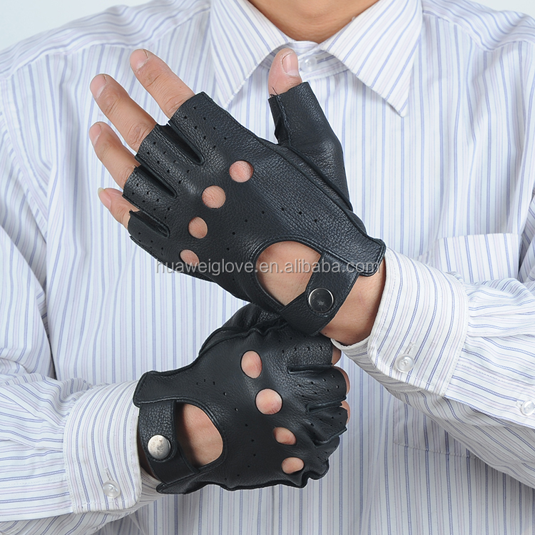 men summer Sports deerskin leather gloves cut finger gloves