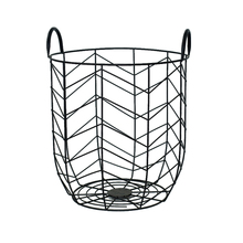 decorative black color metal wire mesh laundry basket with handle