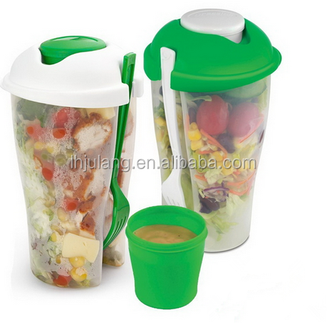 Promotion Product plastic saladcontainer on the go /plastic salad cup with fork&sauce box