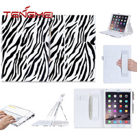 zebra-stripe leather case for ipad with hand strap for ipad cover