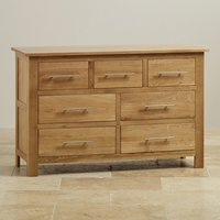 Solid oak furniture natural color wooden 3 over 4 drawers base cabinet