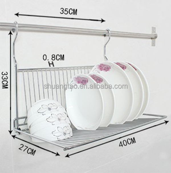 Practical metal hanging dish rack/wall mount dinner plate storage holder