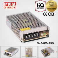s-60-15 with ce 60W ac dc 220v 15v 4a mini size dc switching power supply for cctv