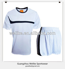Plain soccer jersey and shorts set round collar shirts no logo wholesale blank football jerseys