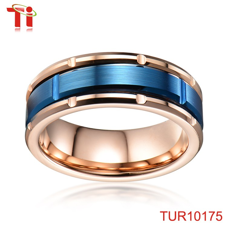Cross & brush mens ring sample stainless steel mens ring muslim mens ring with IP rose gold & blue