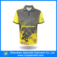 fashion clothing manufactuerers sublimated zipper collar polo shirt