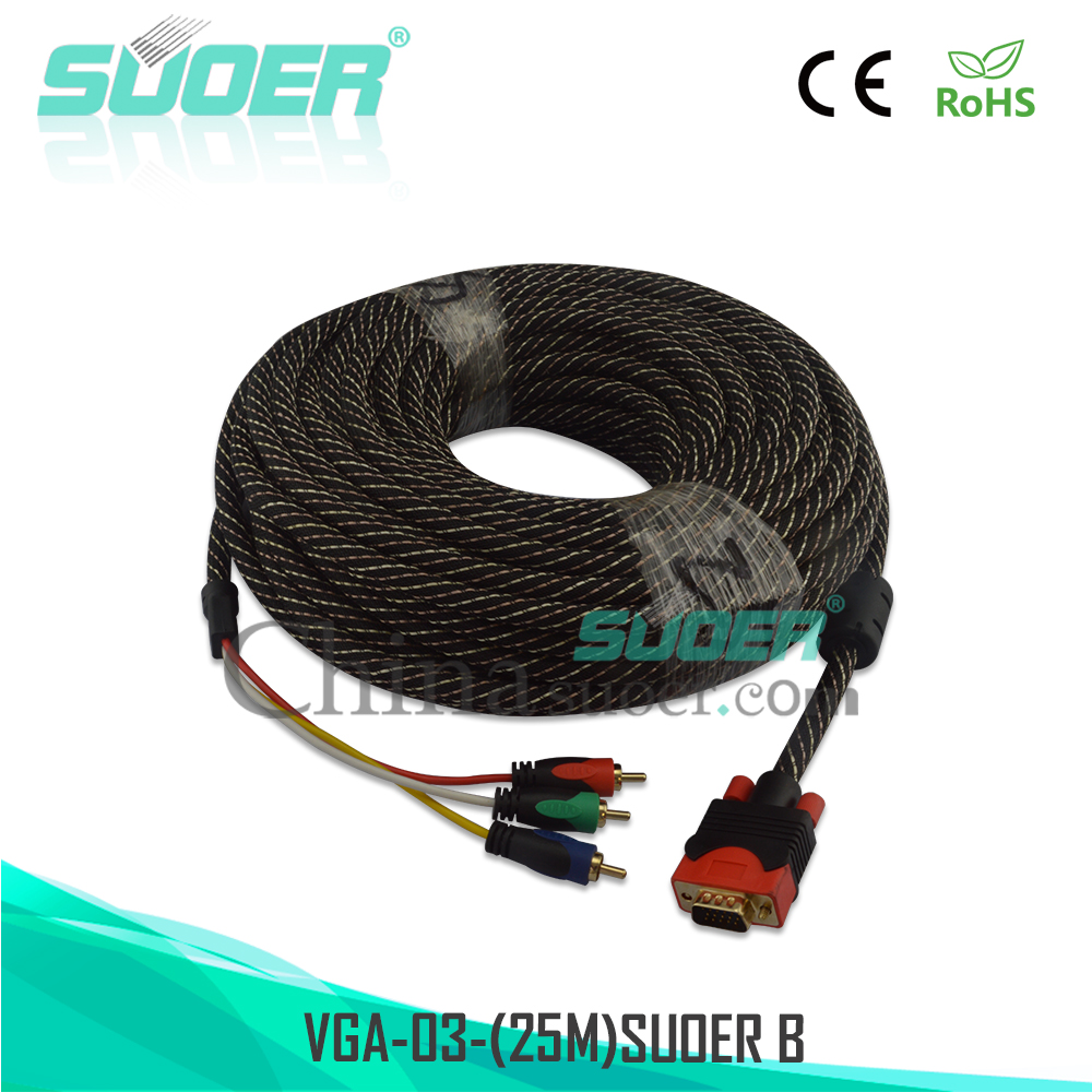 Suoer Male to Male Audio Video Cable 25m VGA to 3 RCA Cable