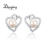 Yiwu Best Seller Micro Pave Clear CZ Pretty AAA Quality Women Heart S925 Silver Stud Earring Jewelry Pearl Earring Designs