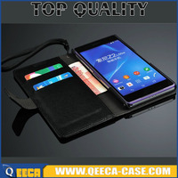 Luxury PU Stand leather flip cover case for Sony Xperia Z2 wallet case with Card slot & photo frame and Strap