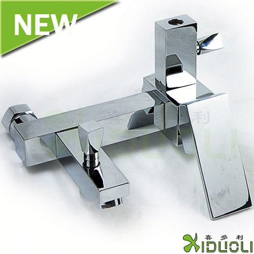 in-wall glass spout bath shower faucet/rain shower faucet/double lever shower mixer
