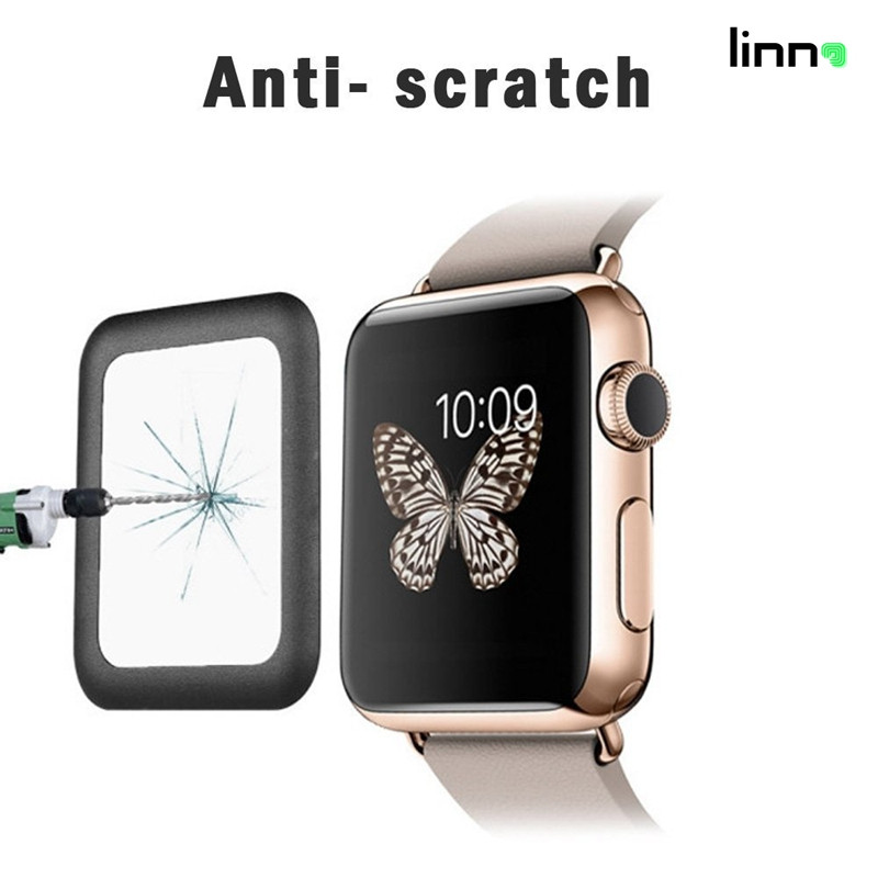 New premium 9H 38mm 42mm full coverage 3D glass screen protector film for Apple watch phone