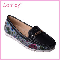 Latest girl design elegant black floral pattern imported ladies footwear