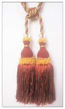 Handmade double curtain tassels with yarn skirt design , china manufacturing tiebacks and trims