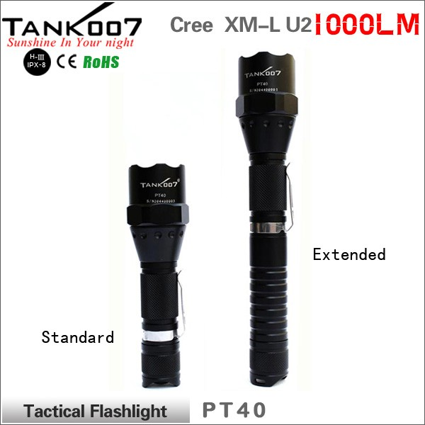 TANK007 xm-l2 t6 <strong>3</strong> mode waterproof flashlight tactical led flashlight torch tactical PT40