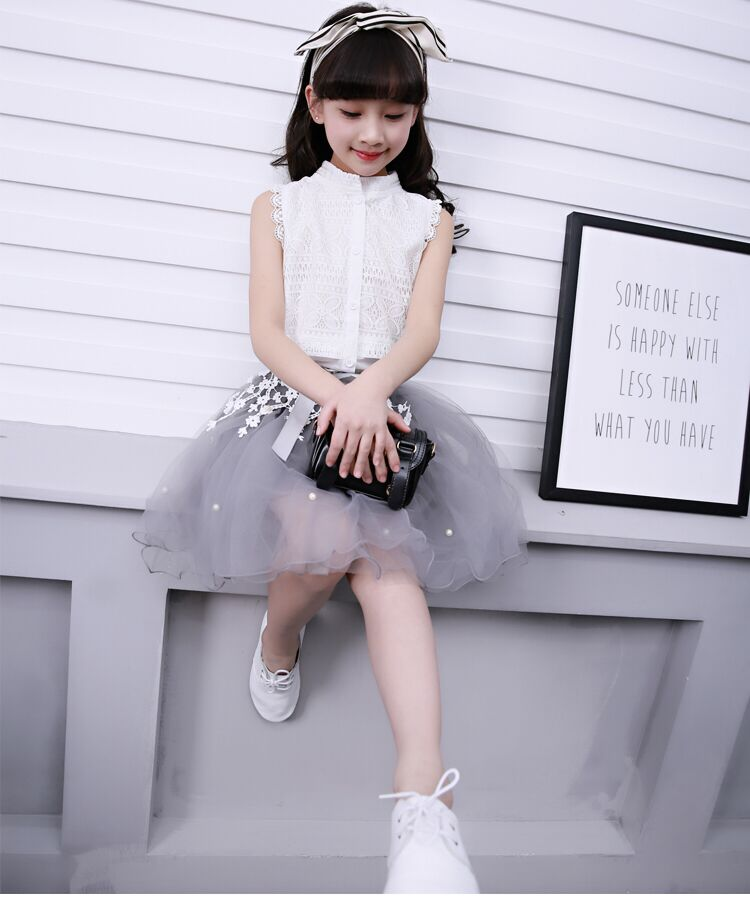 White floral latest grey and white Children O neck clothing set for girls summer sleeveless dress