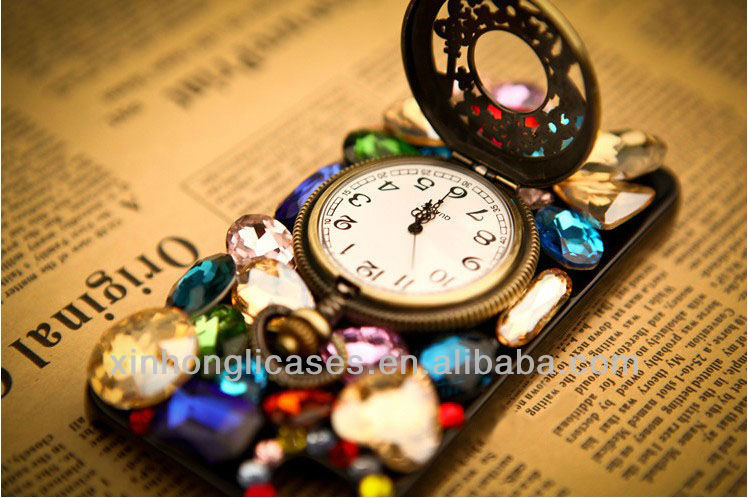 luxurious Diamond watch phone case for iphone;for iphone5 diamond cover