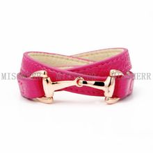 Pink leather bracelet hand bands with designs NSB522PURGPI